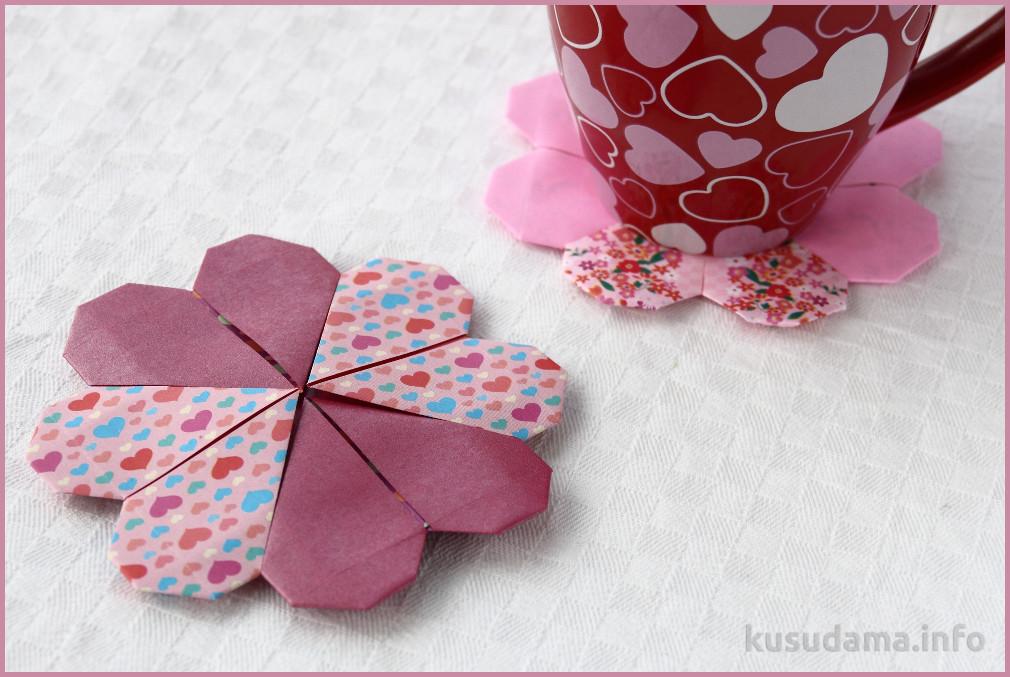 Origami Heart Coaster
